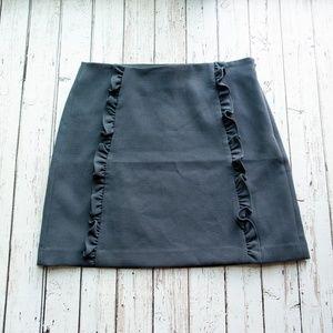LOFT Ruffle A-Line Tube Skirt Gray Size 8